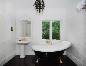 extensive white with black accents for bathroom paint ideas