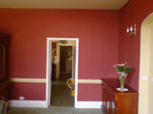 interior house painting red and white