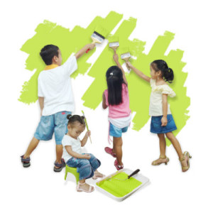 kids learning how to paint a wall