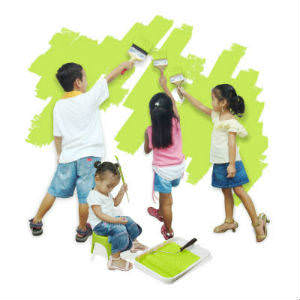 kids-learning-to-paint-walls green_